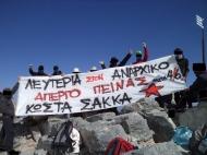 Όλυμπος:πανό αλληλεγγύης στον Κ.Σακκά στο ψηλότερο σημείο τηςχώρας