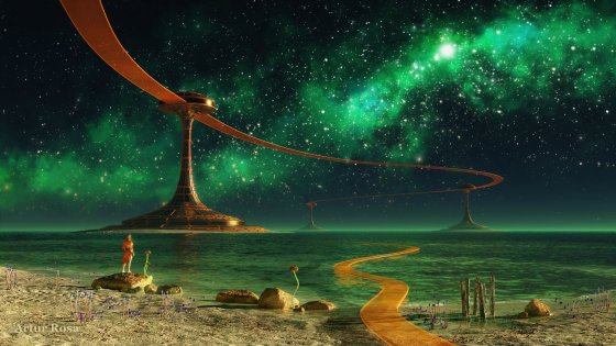 fantasy-sky-glowing-stars-green-light-sea-ocean-wallpaper